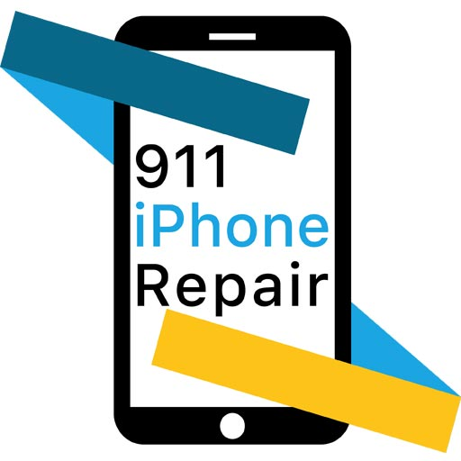 iPhone wrapped in blue and yellow ribbons with 911 iPhone Repair written on the screen