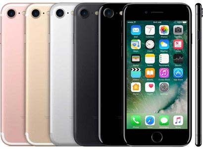 iPhone 7 in Rose, Gold, Silver, Jet black, and Matte Black